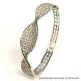 925 Silver Simple Style Bangle with 3A White CZ (G41361)