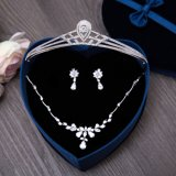 Mecresh Heart Cubic Zircon Bride Tiara Crown Gorgeous Silver Plated Crystal