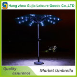 9 Outdoor Solar Umbrella LED Light Tilt Sunshade Garden Market Umbrella