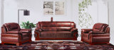 Brown Color 1+1+3 Solid Wood Oak Leather Office Sofa (HX-F641)