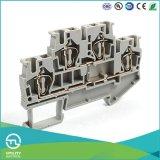 Dinrail Terminal Block Spring Type Jut3-4/2 Wago Screwless Wiring Connector