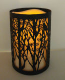 Elegant Etching Metal Cylinder Shell Mood Light LED Candle Lantern