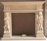 Marble/Granite White European Style Electric Stone Fireplace