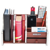 Wooden Holder and File Rack Combination for Notebook and Stationery