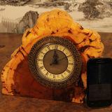 Hot Selling Carved Desk Clock Natural Wood Handmade Bell