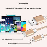 2 in 1 Lightning Micro Braided USB Data Cable