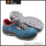 Blue Suede Leather Safety Shoe with Steel Toe (SN5162)