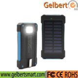 10000mAh Torch Light Portable Emergency RoHS Solar Cell Phone Charger Power Bank