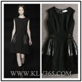 Fashion Style Women Sleeveless Winter Wool Leather Dress