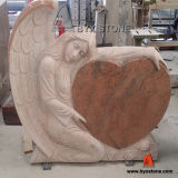Multicolor Red Granite Angel Carving Headstone with Heart