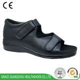 Black Wide Deep Women Orthopedic Leather Shoes for Comfortable Wearing