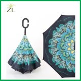 Hot Sell Double Layer Upside Down Reverse Inverted Umbrella with C Handle