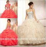 Ruffed Organza Wedding Dress Crystals Quinceanera Dress Ld15223