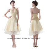 Women Chiffon Sleeveless Backless Evening Party Prom Dress