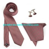 Wholesale Custom Logo Handmade Checkered Tie Handkerchief Cufflink Gift Necktie Sets