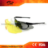Rimless One Piece Bulletproof Lens Anti UV Military Sunglasses Police Glasses with Strap