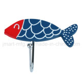 Fashion Metal Hooks with Adhesive Polyresin Fish Design