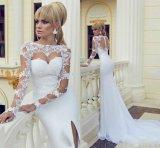 2015 Wedding Dresses Long Lace Sleeves Mermaid Bridal Formal Gowns M19122