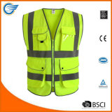 Class 2 High Visibility Zipper Front Safety Vest with Reflective Strips