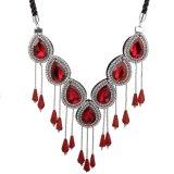 Fashion Jewellry Rhinestone Crystal Tassel Pendant Statement Choker Necklace Jewelry