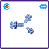 Blue Zinc Stainless Steel Cross/Phillips Pan Head Screw with Gasket/Washer