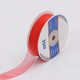 Red Wire Edged Nylon Organza Sheer Ribbon