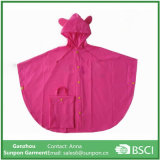 Cute Pink PVC Children′s Rain Poncho Raincoats for Girls