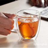 350ml Double Wall Glass Coffee Cup with Handle (DC-C-300)