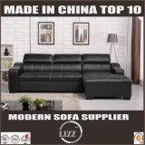 Black Genuine Leather Furniture Storable Sofa Bed (LZ710)