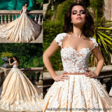 Cap Sleeves Wedding Gowns Customized Champagne Lace Wedding Dress G17809
