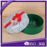 Custom Design Round Shape Christmas Gift Paper Box with Ribbon