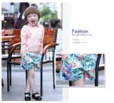 Girls Short Pants with Full Printed Woven Fabric for Summer