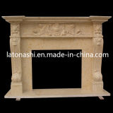 Beige Marble Stone Fireplace Mantel and Surround for Indoor Decoration