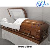 High Gloss Velvet Interior Poplar Hardwood Casket and Coffin