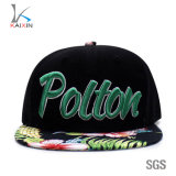 Custom Floral Print Brim 3D Embroidery Snapback Adjustable Hat