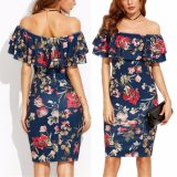 Fashion Women Flower Printed off Shoulder Ruffle Party Dress