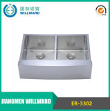 Stainless Steel Er-3302 Double Bowl Farmhouse Kitchen Handcraft Sink