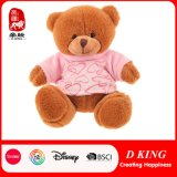 Brown Teddy Bear Plush Soft Bears Wear Pink T-Shirt