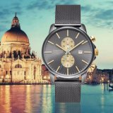 Luxury Swiss Movement Chronograph Men′s Watch on Sale Stainless Steel Wrist Watch with Mesh Band 72110