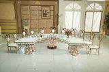 Half Moon White Tempered Glass LED Light Wedding Table Set