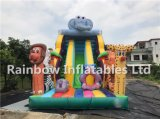 Popular Design Clourful Giant Inflatable Jungle Slide with Platform and Cartoon Animals Game