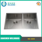 High Quality Ns-3203 Handmade 18 Gauge Double Bowl Kitchen Sink