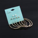 6pairs/Set Punk Crystal Pearl Stud Earrings Set for Woman Costume Jewelry Hoop Earrings Set