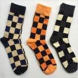 Square Plaid Patten Design Leisure Sock