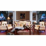 Leather Sofa Set with Wooden Sofa Frame (508)