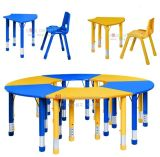 Adjustable Kids Table Chair, Round Big Kids Table Chair, Preschool Furniture