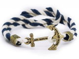 Custom Jewelry Wholesale Popular Alloy Men Rope Anchor Bracelet