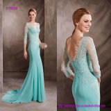 Guipure Decorate The Bodice Mermaid Dress with a Train and V-Neckline in Light Gauze