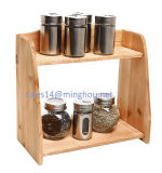 Home Storage Tabletop Decorative Kitchen 2-Tier Wooden Spice Rack