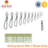 Strong Strength Rolling Swivel with T-Shape Snap